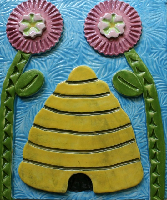 Ceramic Wall Art Tile Bee Skep in White Clay