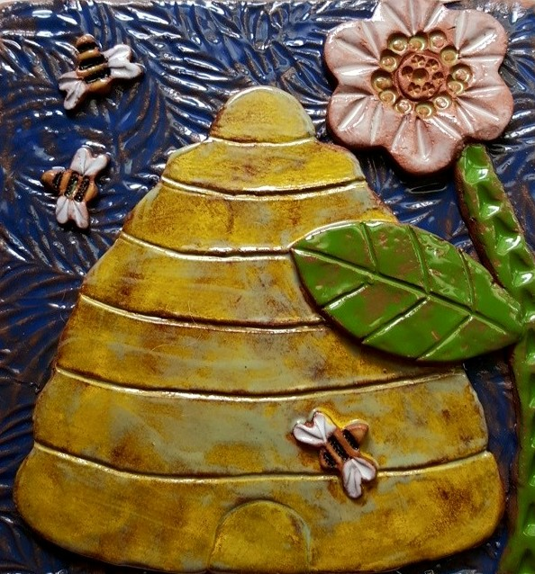 Ceramic Wall Art Tile Bee Skep in Red Clay