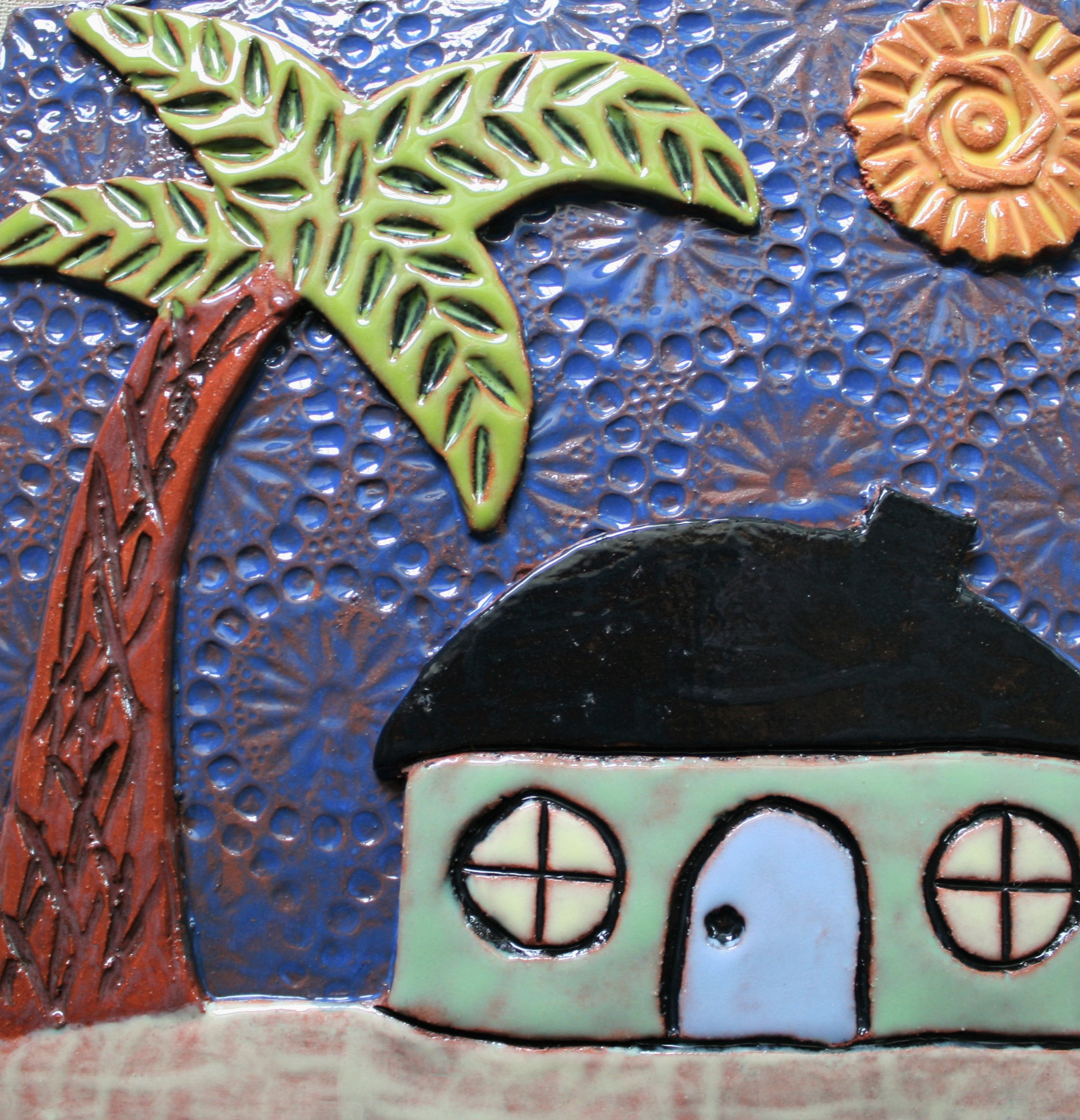 Ceramic Wall Art Tile Beach House In Red Clay